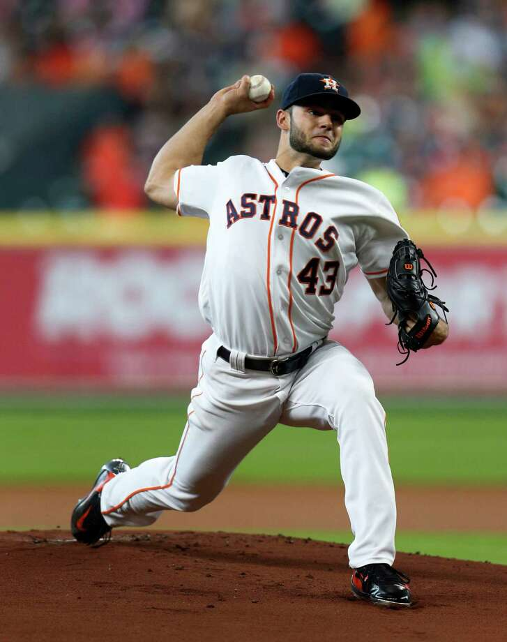 Houston Astros starting pitcher Lance McCullers (43) pitches during the first inning of an MLB baseball game at Minute Maid Park, Wednesday, June 22, 2016, in Houston.