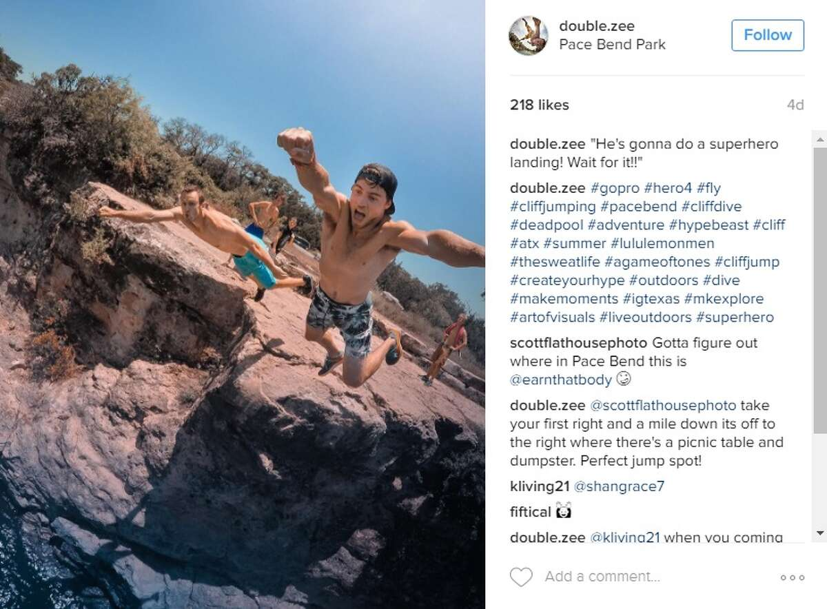 """""""He's gonna do a superhero landing! Wait for it,"""" @double.zee at Pace Bend Park."""