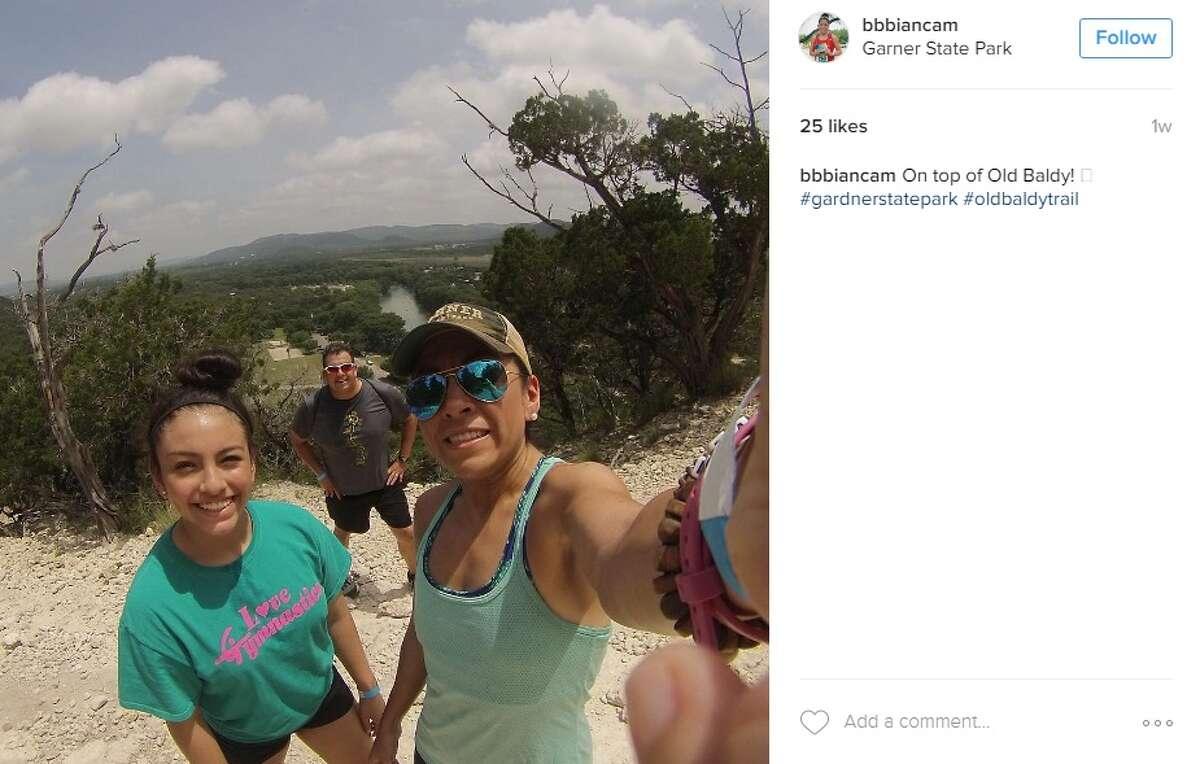 """""""On top of Old Baldy! #gardnerstatepark #oldbaldytrail,"""" @bbiancam at Garner State Park."""
