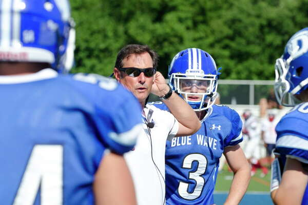 Darien High School football coach Rob Trifone is shown in this file photo.