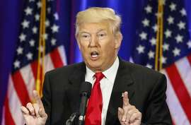 Presumptive Republican presidential nominee Donald Trump speaks at the Trump Soho Hotel in New York on June 22, 2016. / AFP PHOTO / KENA BETANCURKENA BETANCUR/AFP/Getty Images
