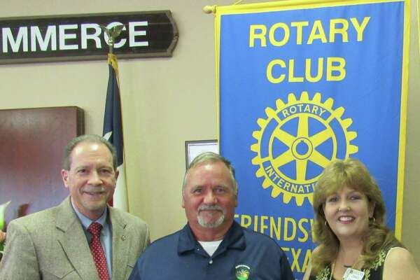Rick Watkins (center), a project manager with the City of Friendswood's Public Works Department, was recognized by the Rotary Club of Friendswood for his work on various city projects. With Watkins is Friendswood City Manager Roger Roecker (right) and Carolyn Zimmer, president of the Rotary Club.  Rick Watkins (center), a project manager with the City of Friendswood's Public Works Department, was recognized by the Rotary Club of Friendswood for his work on various city projects. With Watkins is Friendswood City Manager Roger Roecker (right) and Carolyn Zimmer, president of the Rotary Club.
