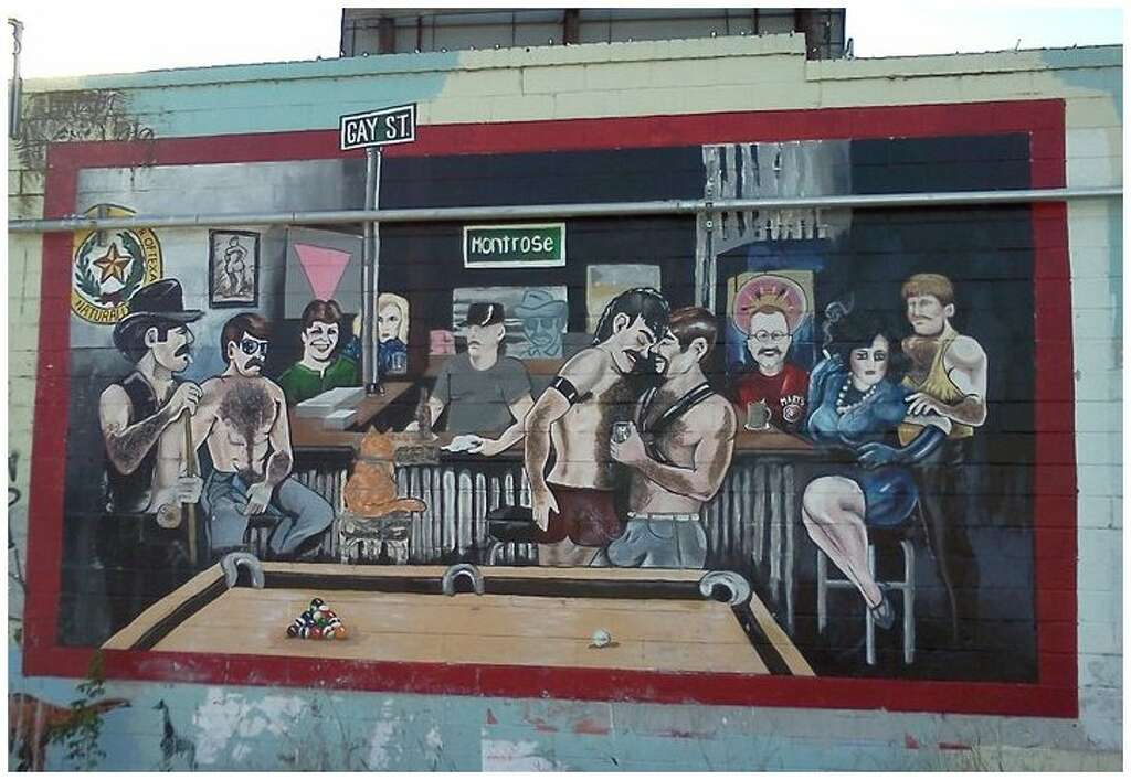 Memories Of Murals Outside Departed Montrose Gay Bar Marys Still - Cartoon mural man obsessing facebook likes says lot society