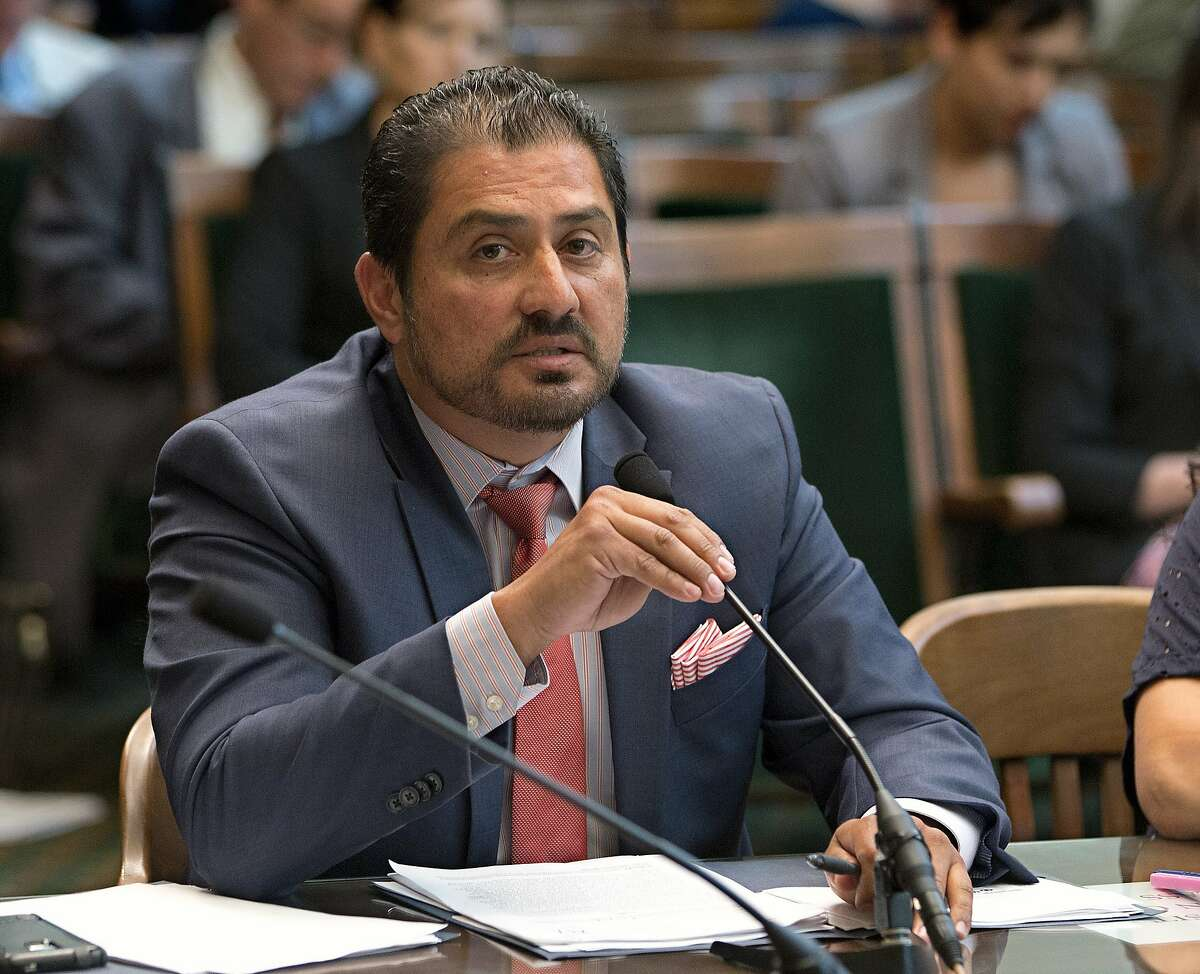 California state Sen. Ben Hueso, D-San Diego, discusses his gender discrimination measure before the Assembly Judiciary committee,Tuesday, June 21, 2016, in Sacramento, Calif. The Assembly Public Safety Committee approved Hueso's bill, SB448, Tuesday, that attempts to fix a flawed voter-approved initiative that required registered sex offenders to disclose their email addresses and other electronic information to authorities. (AP Photo/Rich Pedroncelli)