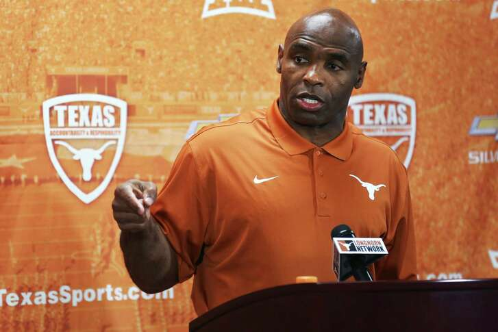 Texas football coach Charlie Strong speaks during a news conference at the team's media day on Aug. 6, 2015, in Austin.