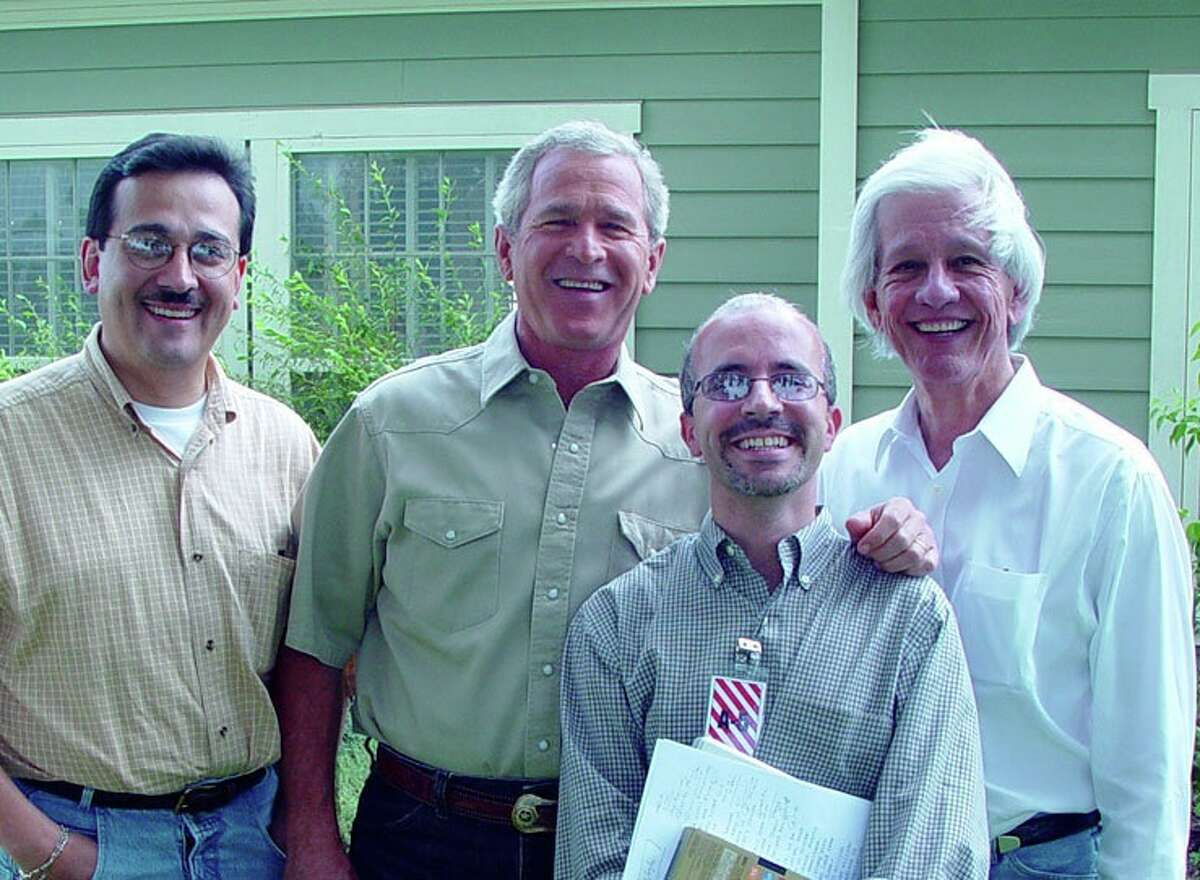 Political consultant Lionel Sosa, far right, and his team worked on six Republican presidential campaigns, including that of President George W. Bush, second from left.