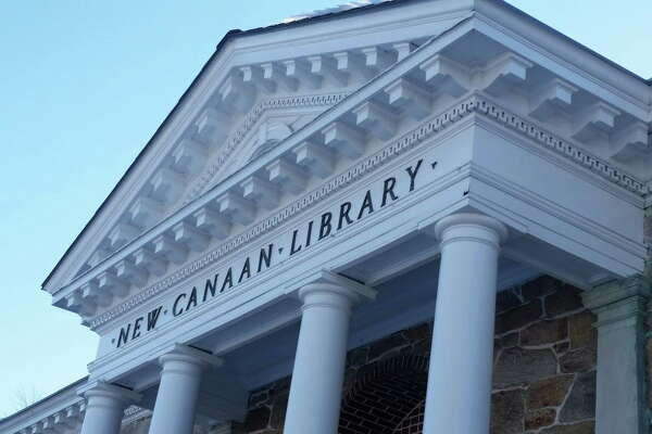 The Main Street facade of the New Canaan Library is shown in this file photo.