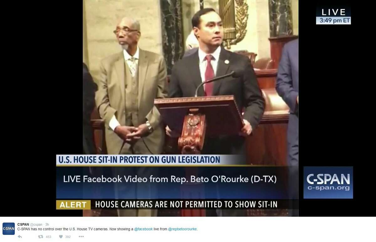 U.S. Congressman Beto O'Rourke of El Paso has been live-streaming the sit-in after the U.S. government cut off cameras in the U.S. House. Here is a screen shot featuring Rep. Joaquin Castro.