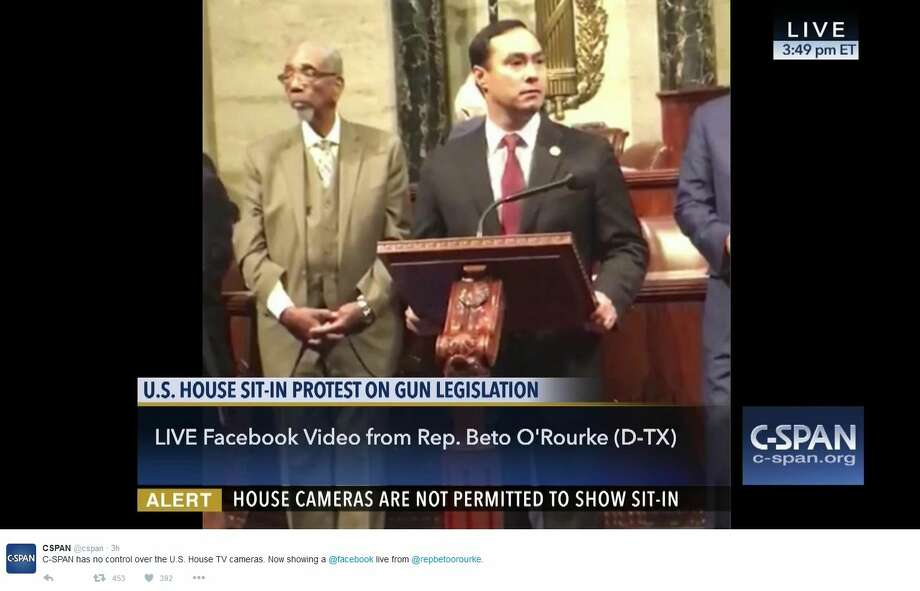 U.S. Congressman Beto O'Rourke of El Paso has been live-streaming the sit-in after the U.S. government cut off cameras in the U.S. House. Here is a screen shot featuring Rep. Joaquin Castro. Photo: C-Span Twitter Account