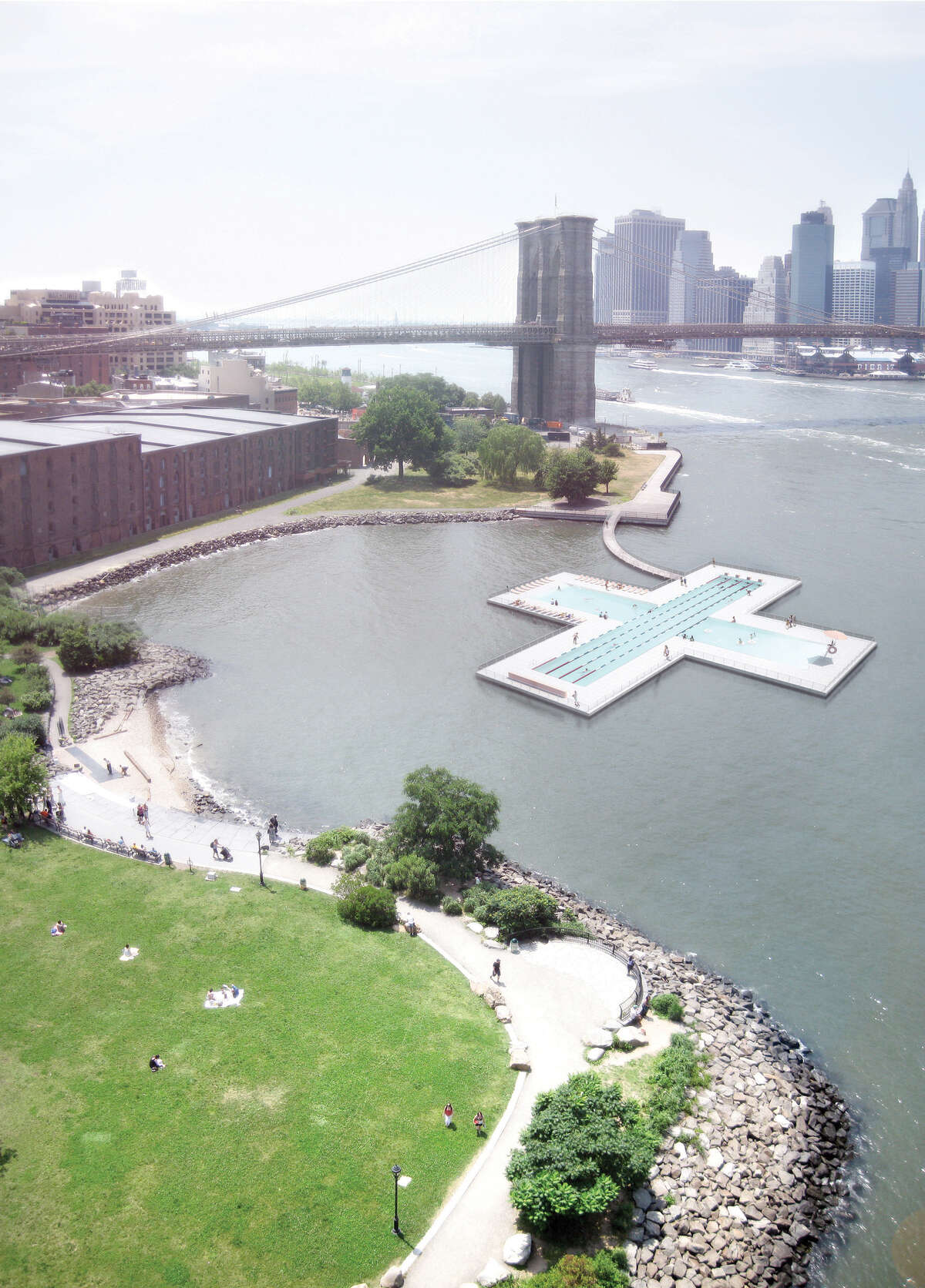A rendering for + Pool, an idea for a water-filtering floating pool in New York's waterways. The company pitching the idea claims it will help filter the contaminants in the river and provide clean, swimmable water for residents.