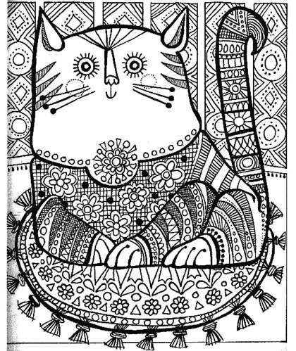 Cats Coloring page of a big fat Cat sitting coloring pages | 498x420