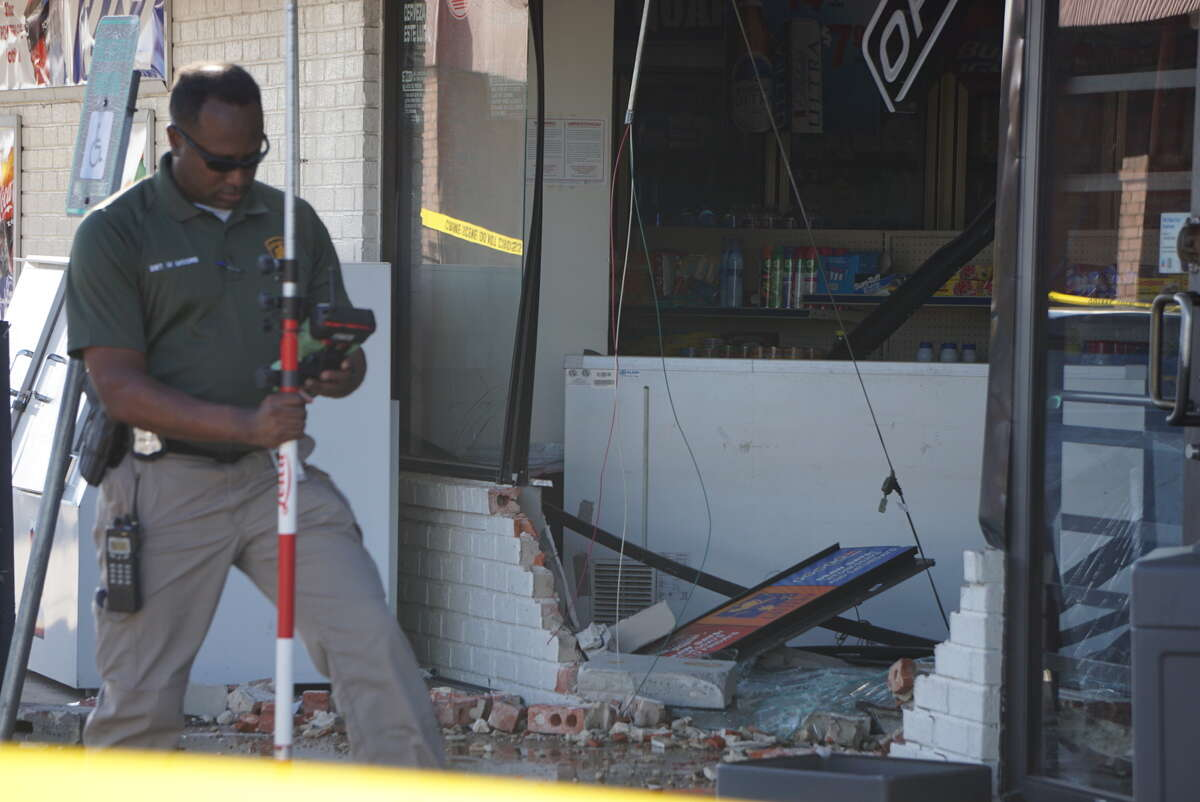 A man was injured Wednesday June 22, 2016 when a driver of an SUV plowed into a store at 4927 Rigsby Avenue on San Antonio's east side.