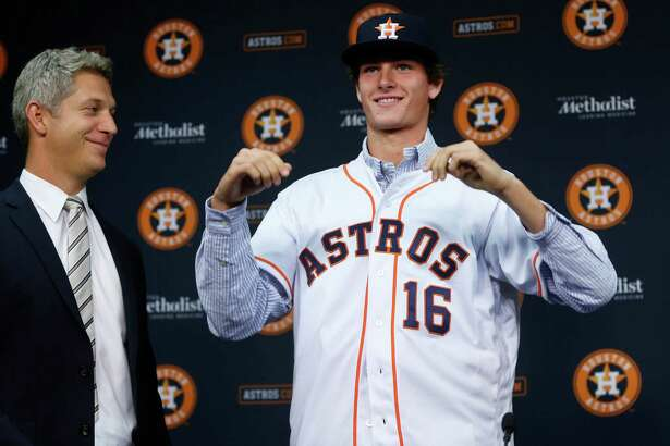 The Astros had to break out a large jersey to accommodate newly signed No. 1 draft pick Forrest Whitley, a 6-7 righthander from San Antonio.