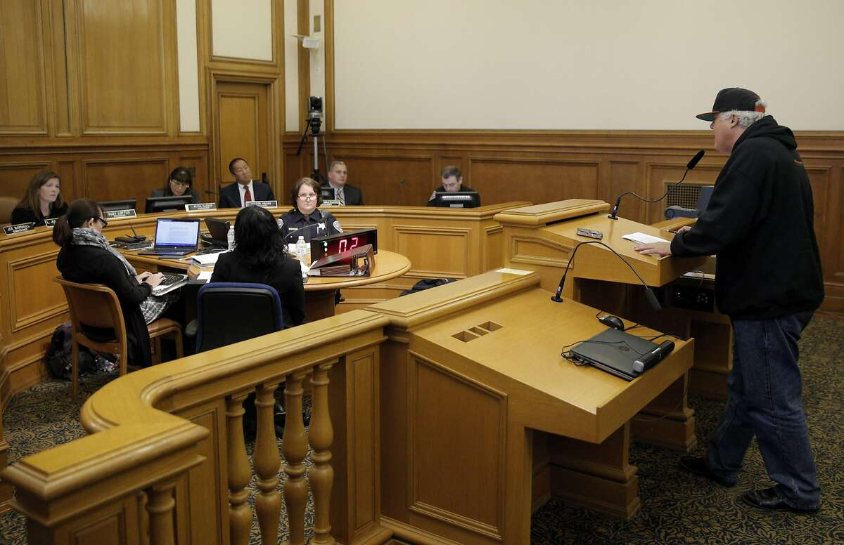David Carlos Salavevry speaks to the commission as the San Francisco Police Commission discussed a new use of force policy at City Hall in San Francisco, Calif., on Wednesday, June 22, 2016.
