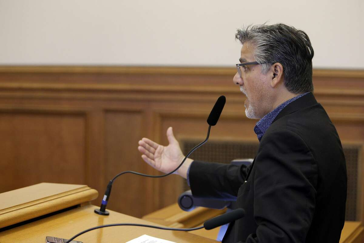 San Francisco Supervisor John Avalos speaks to the board as the San Francisco Police Commission discussed a new use of force policy at City Hall in San Francisco, Calif., on Wednesday, June 22, 2016.