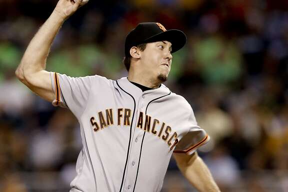 San Francisco Giants relief pitcher Derek Law throws against the Pittsburgh Pirates during the fifth inning of a baseball game Wednesday, June 22, 2016, in Pittsburgh. The Giants won 7-6. (AP Photo/Keith Srakocic)