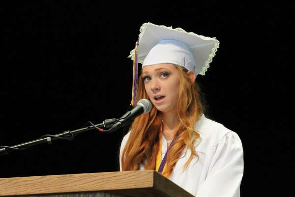 Valedictorian Lindsey DeNooyer gives her address during Ballston Spa High School's 129th Commencement at SPAC on Wednesday June 22, 2016 in Saratoga Springs, N.Y. (Michael P. Farrell/Times Union)