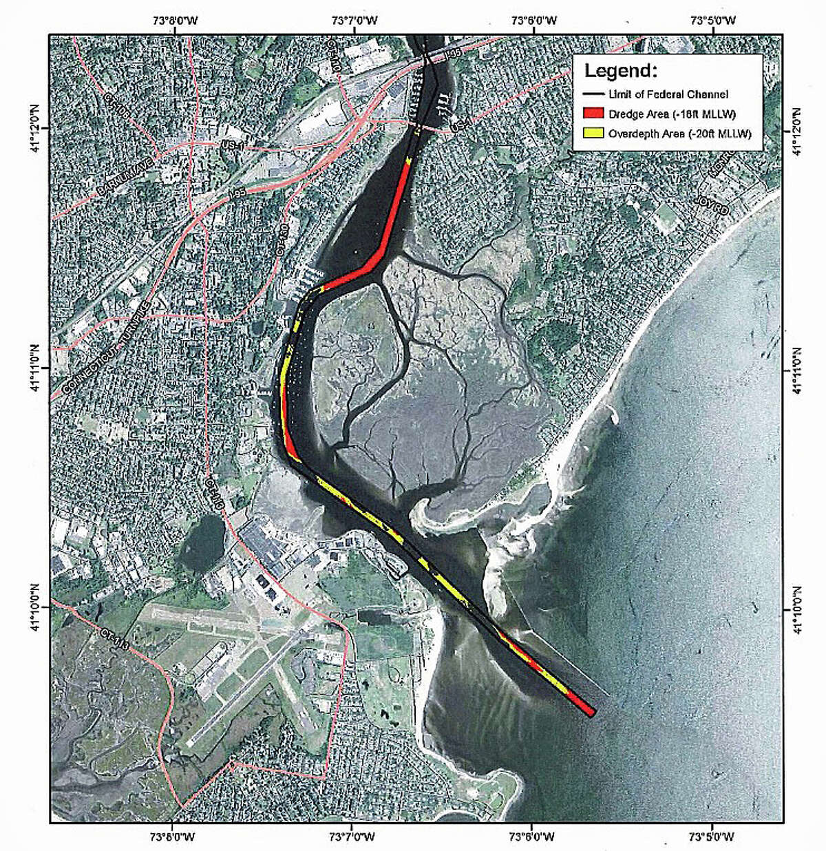 Areas in red show where the U.S. Army Corps of Engineers proposes to dredge in the Housatonic River between Stratford and Milford. The proposed work involves removal of up to 300,000 cubic yards of sandy material from portions of the 18-foot main channel. The work would be from the mouth of the Housatonic at Long Island Sound to a few miles upriver.