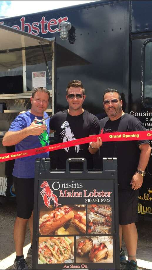 San Antonio franchisee Todd Knief, company co-founder Jim Tselikis and San Antonio franchisee Neil Werner celebrate the official opening of Cousins Maine Lobster food truck. Photo: Courtesy Cousins Maine Lobster