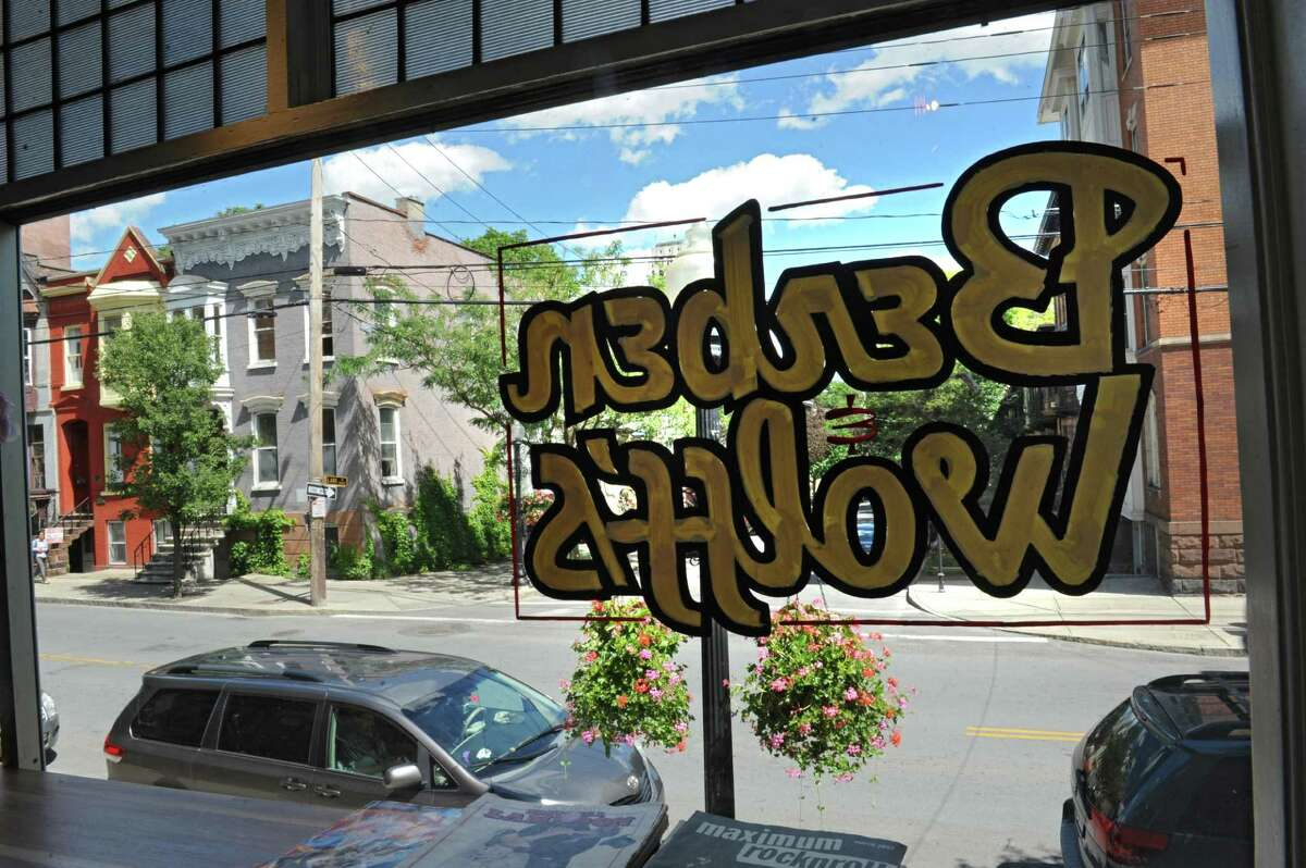 View looking out the front window of Berben & Wolff 's Vegan Delicatessen on Lark Street in Albany. (Lori Van Buren / Times Union)