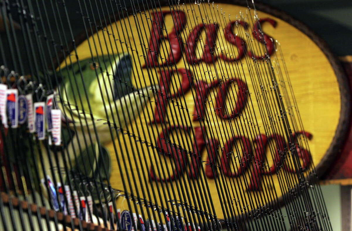 A display of rods is framed by the Bass Pro Shops at the newest shop which will open in San Antonio on Thursday, Oct. 19, 2006. Photo Bob Owen Tuesday, Oct. 17, 2006.