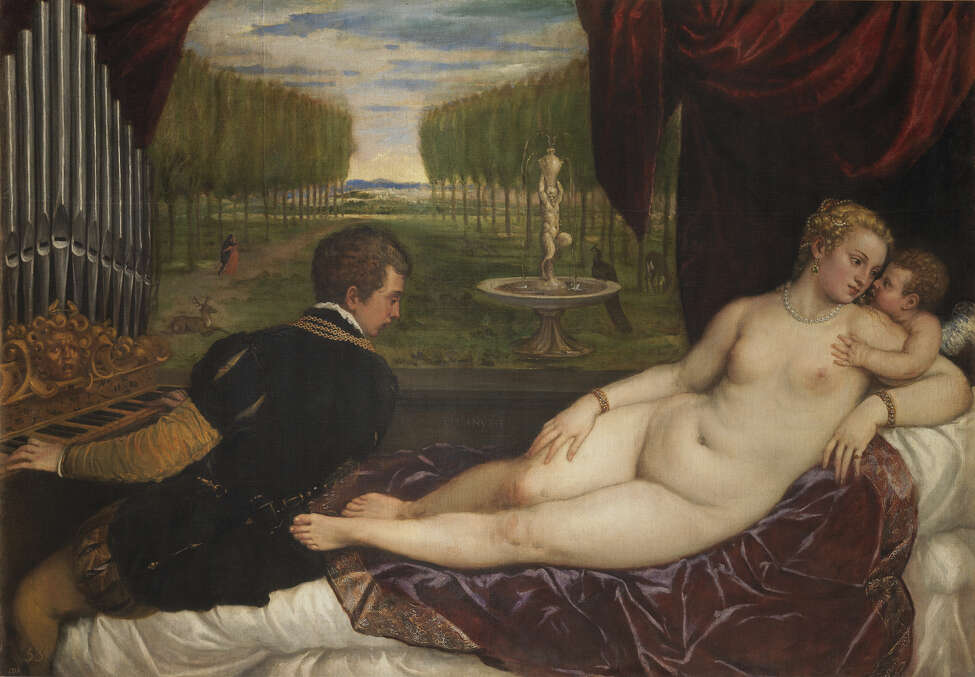 Titian (Tiziano Vecelli) (Italian [Venetian], c. 1488?-1576), Venus with an Organist and Cupid, c. 1550?-1555. Oil on canvas, 59 1/8 x 85 7/8 in.