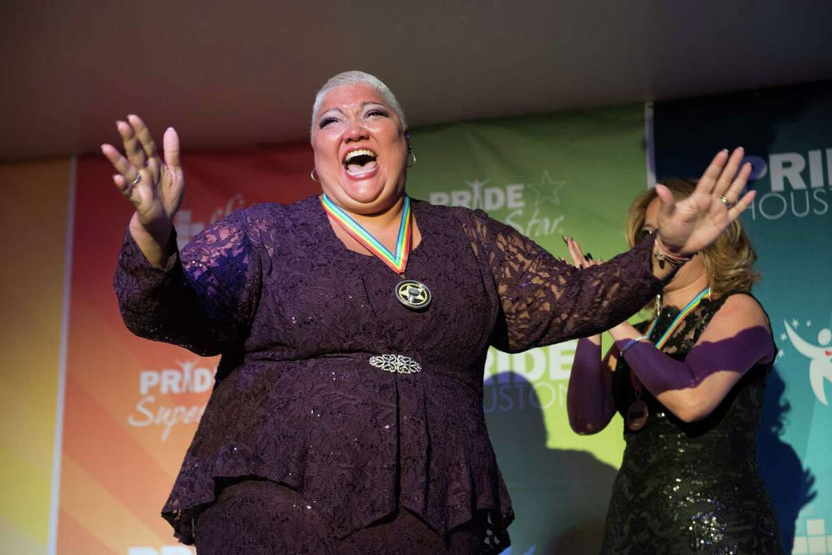 Christina Wells reacts to winning the Pride Superstar Season 10 Finale on Wednesday, June 22, 2016 at Meteor in Houston TX