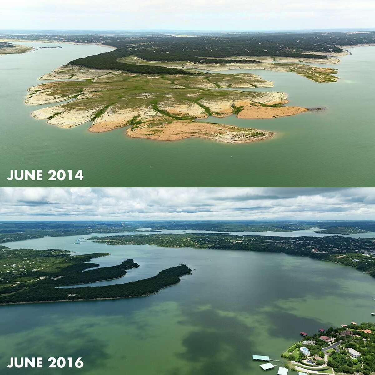 The Lower Colorado River Authority published two-year aerial progression shots showing Lake Travis' transformation on June 22, 2016.