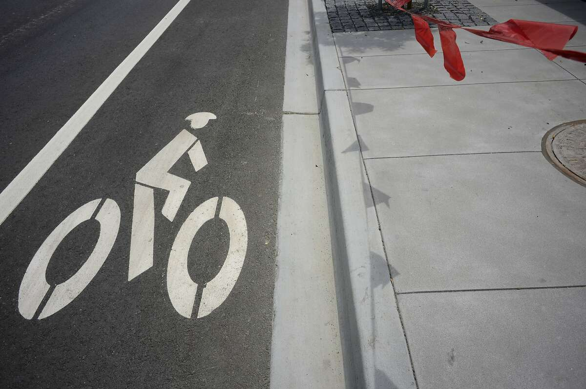 Bicycle lane that leads to UCSF Medical Center as seen in San Francisco, California, on Tuesday, June 9, 2015.
