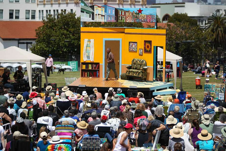 Actor Michael Gene Sullivan of The San Francisco Mime Troupe is seen during an annual Fourth of July performance at Mission Dolores Park in San Francisco. Photo: Loren Elliott, The Chronicle