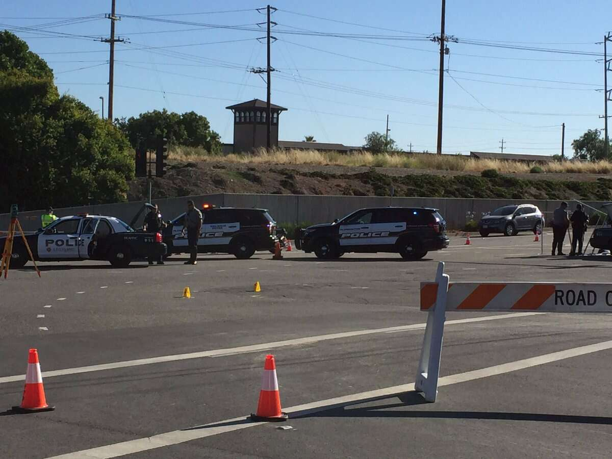 A female bicyclist was killed Thursday morning when she was hit by a vehicle at the intersection of Valley Avenue and Stanley Boulevard in Pleasanton. The cause of the crash remained under investigation.