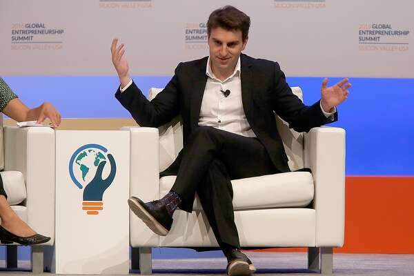 Airbnb founder and CEO Brian Chesky speaks during the Global Entrepreneurship Summit at Stanford University on Thursday, June 23, in Palo Alto, Calif..