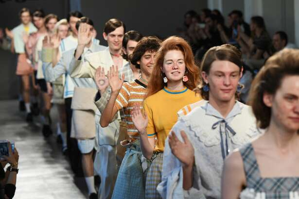 Moto Guo models donned horrendous outfits, complete with a face full of acne on on of Milam Fashion Week's runways.