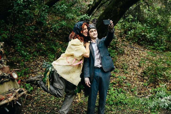 """This image released by A24 Films shows Paul Dano, left, and Daniel Radcliffe in a scene from, """"Swiss Army Man."""" (Joyce Kim/A24 Films via AP)"""