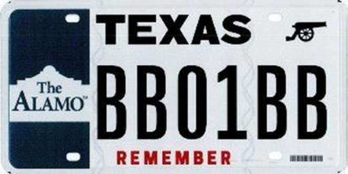"""Emblazoned with the word """"remember,"""" a new license plate, complete with an image of the Alamo and a cannon, is now available for Texans to buy for $30."""