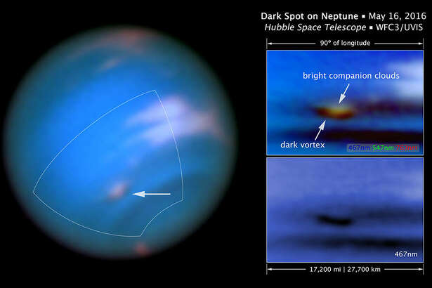 NASA caption:       This new Hubble Space Telescope image confirms the presence of a dark vortex in the atmosphere of Neptune. The full visible-light image at left shows that the dark feature resides near and below a patch of bright clouds in the planet's southern hemisphere. The full-color image at top right is a close-up of the complex feature. The vortex is a high-pressure system. The image at bottom right shows that the vortex is best seen at blue wavelengths.