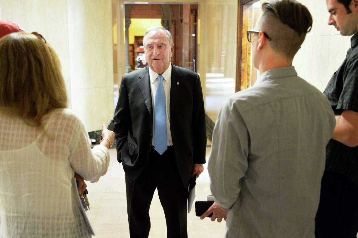 Former NYS Assembly Ways & Means Chairman Arthur OJerryO Kremer, center, discusses the future of constitutional conventions in New York with reporters at the Capitol Thursday June 23, 2016 in Albany, NY. (John Carl D'Annibale / Times Union)