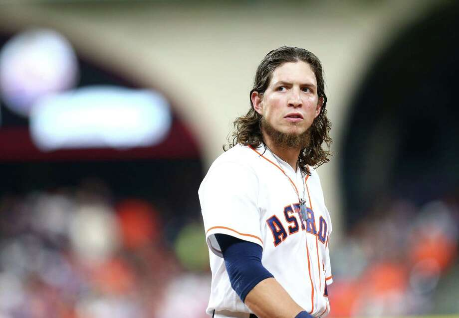 Astros left fielder Colby Rasmus reacts after the end of the seventh inning of a game at Minute Maid Park on May 21, 2016, in Houston. Photo: Jon Shapley /Houston Chronicle / © 2015  Houston Chronicle