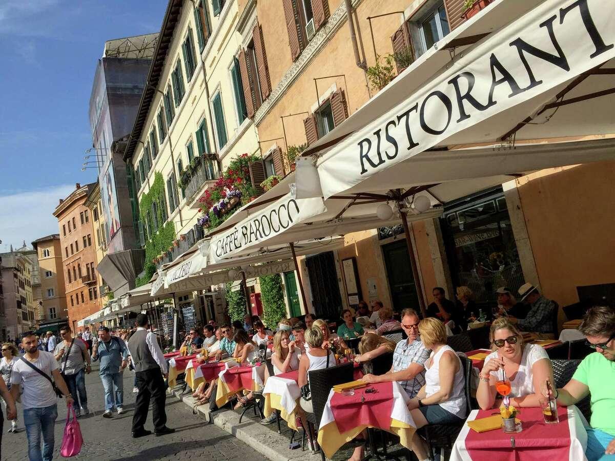 Dining al fresco on Piazza Navona in Rome.