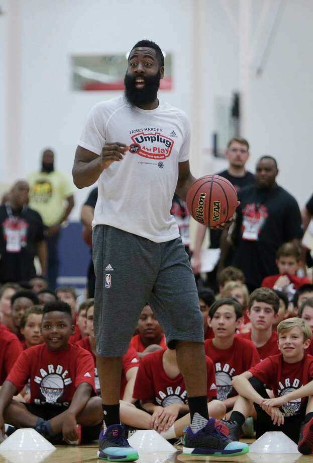 James Harden reacts to a shot during a knockout game at the James Harden Basketball ProCamp,Thursday, June 23, 2016, in Houston. Photo: Houston Chronicle / © 2016 Houston Chronicle