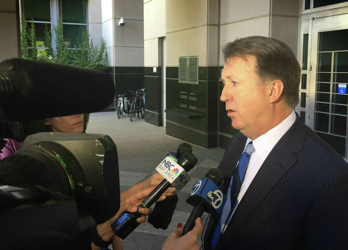 Tom Johnson, an attorney for accused Vallejo kidnapper Matthew Muller, speaks to members of the media Thursday outside U.S. District Court in Sacramento. A federal judge denied Johnson's motion to suppress key evidence in the case.