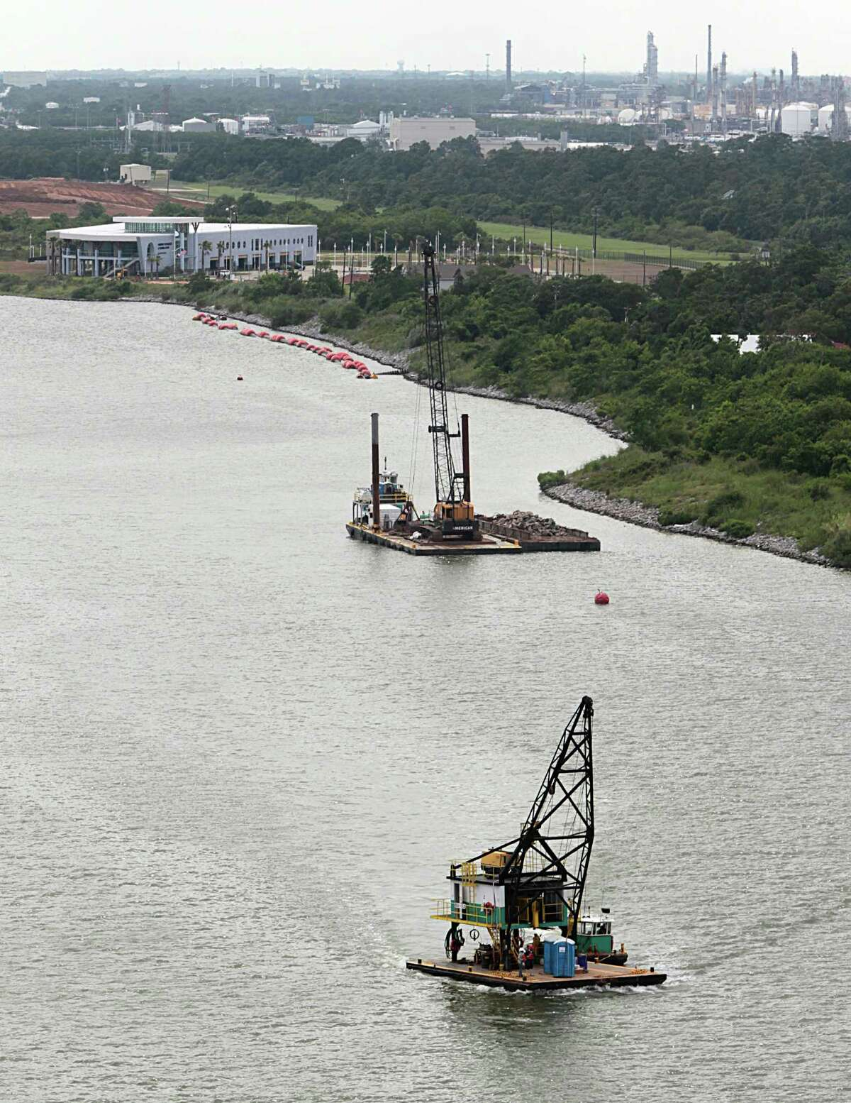 Dredging work continues in June near the Bayport Container Terminal. Regular dredging is essential to maintaining the Ship Channel's depth.