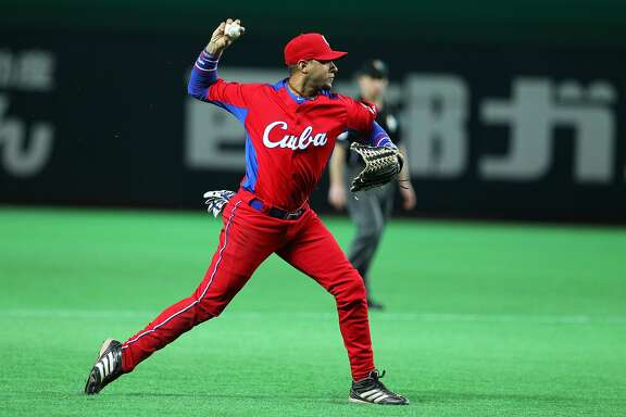 FUKUOKA, JAPAN - MARCH 03: Infielder Yulieski Gourriel #10 of Cuba in action during the World Baseball Classic First Round Group A game between Brazil and Cuba at Fukuoka Yahoo! Japan Dome on March 3, 2013 in Fukuoka, Japan. (Photo by Koji Watanabe/Getty Images)