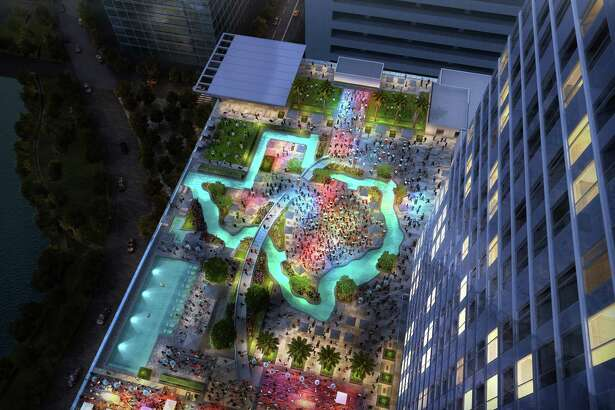 A rendering of the Marriott Marquis Houston, a downtown hotel expected to open in November. The hotel will feature a two-level sports bar, Biggio's, a partnership with former Houston Astro star Craig Biggio. The hotel will also have a Texas-shaped lazy river, right.