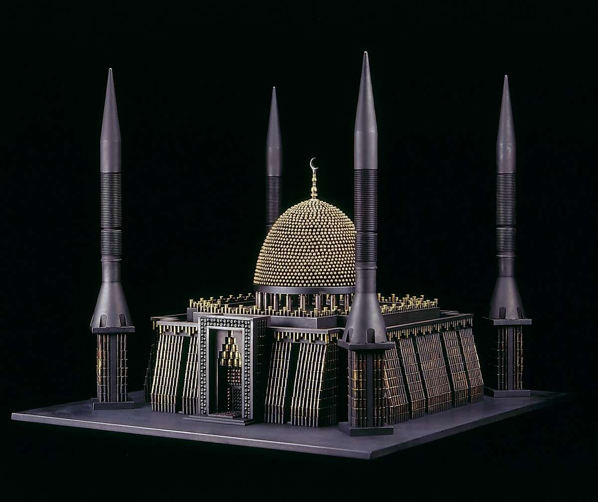 2.�� �Al Farrow, Mosque III (After National Mosque of Nigeria, Abuja), 2010; 'tank-killer' missiles, bullets, brass, steel, gun trigger; 25 x 29 x 31 in.; courtesy the artist and Catharine Clark Gallery, San Francisco; photo: Jock McDonald; � Al Farrow