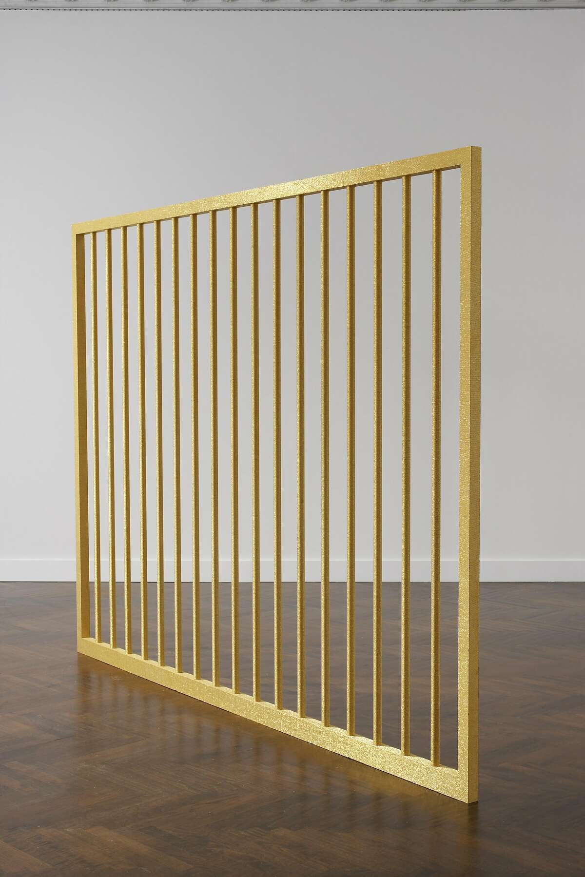 3.�� �Liza Lou, Barricade, 2007-8; gold-plated beads on aluminum; 88 x 108 x 3 in.; courtesy the artist and White Cube Gallery, London; photo: Tom Powell; � Liza Lou
