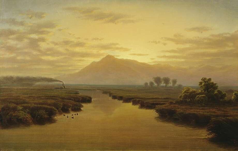 "William Marple, ""Mount Tamalpais From Napa Slough, 1869."" Oil on canvas. Lent by the California Historical Society. Photo: Www.bridgemanart.com"