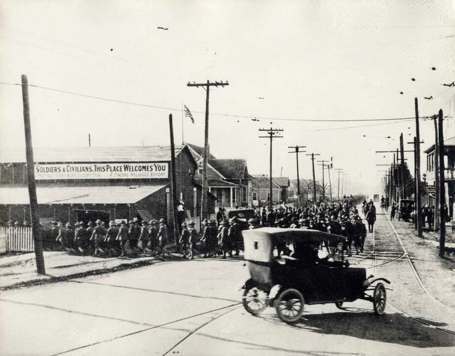 Soldiers marching near Camp Logan, the area now occupied by Memorial Park, in 1917. Photo: Courtesy Photo