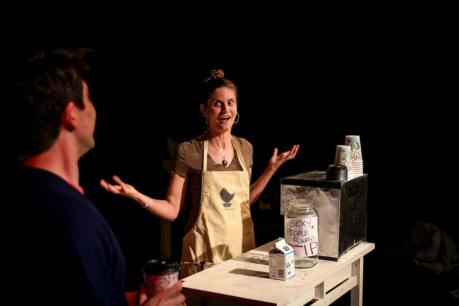 Stuart (Dan Kurtz) orders coffee from his Coffee Girl (Adrianna Delgadillo), a snarky, sassy teenager who compares him to Stuart Little. Photo: Andy Strong, PianoFight