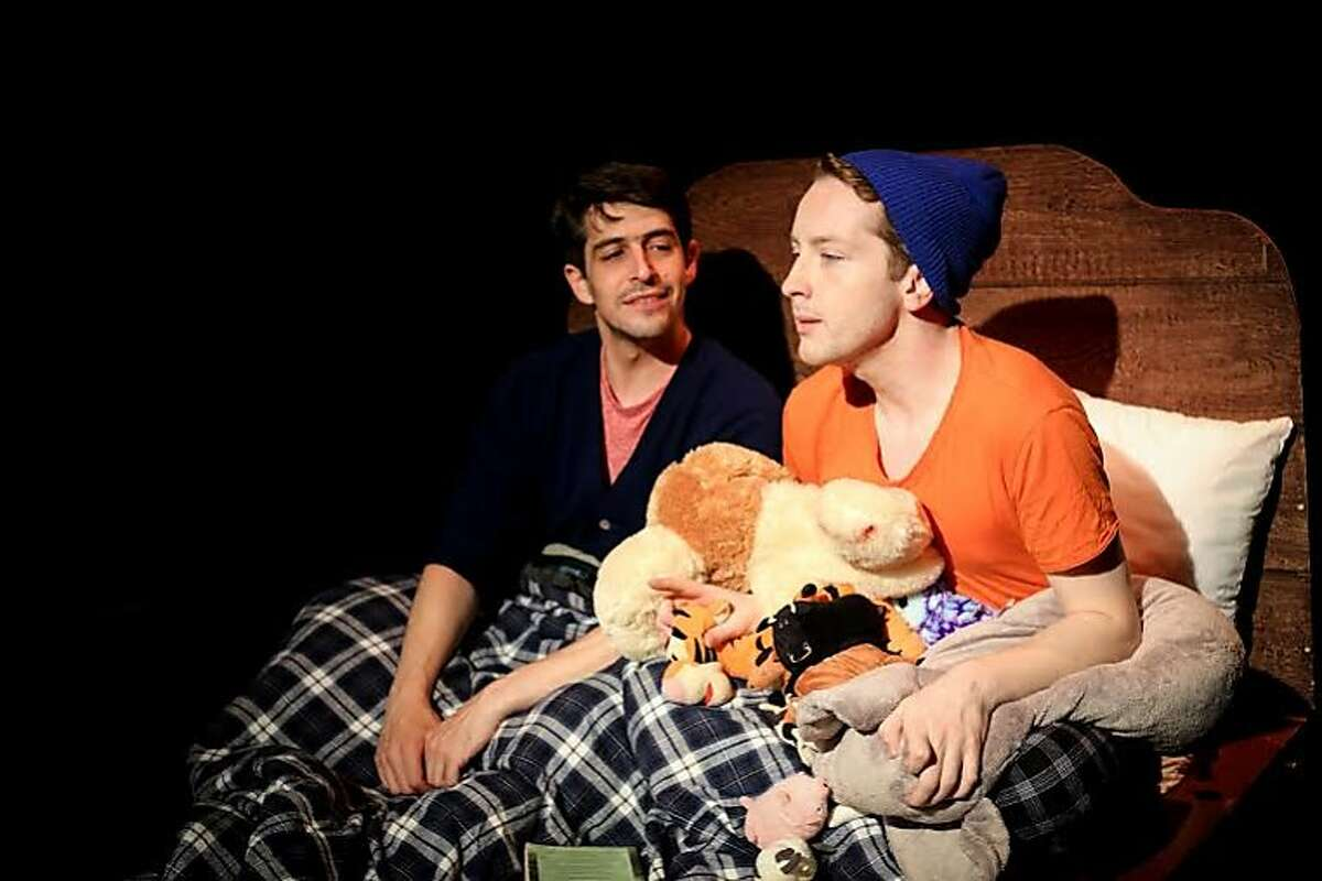 Stuart (Dan Kurtz) talks with his boyfriend Cody (Casey Spiegel) about a creative idea.